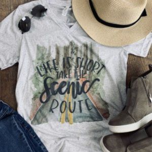 NEW Life is Short Short Sleeves Vneck Graphic Tee